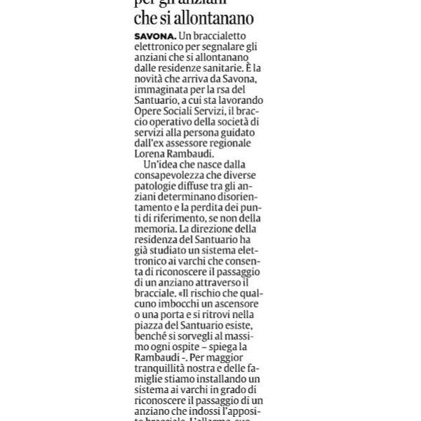 Il Secolo XIX Edizione Savona del 20 febbraio 2017 | Opere Sociali Servizi Savona