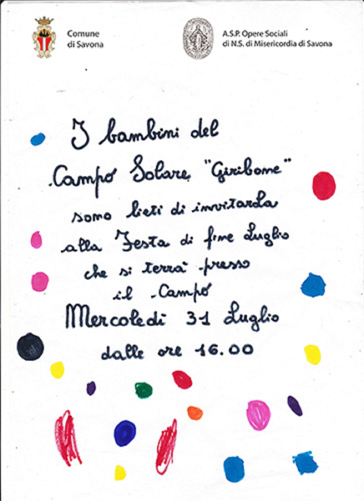Campo Solare Giribone Savona Festa