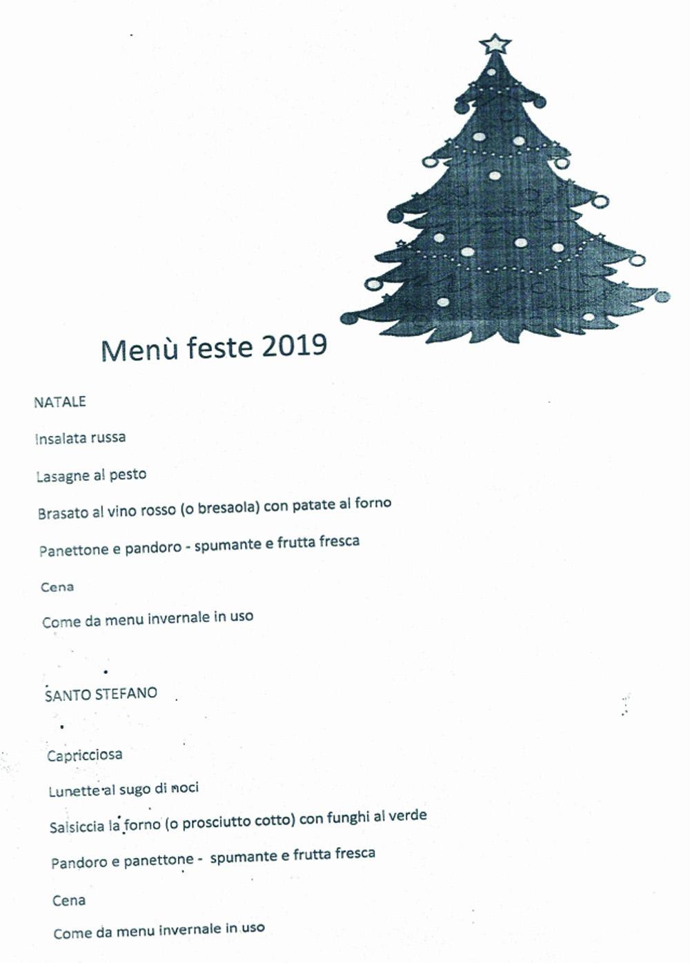 Menu Feste 2019 Residenza Protetta Bagnasco - Opere Sociali Servizi Savona